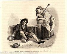 Antique print types man Jan Steen Bagpipe 1859 Sackpfeife holzstich Dudelsack