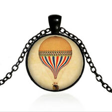 Vintage Hot Air Balloon Black Dome glass Photo Art Chain Pendant Necklace