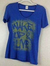 Wake Up And Live Women's Size Large T-Shirt Blue Gift Retro Funny