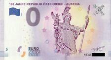 0 Euro Schein 100 JAHRE REPUBLIK ÖSTERREICH - AUSTRIA Souvenir Null € 2018 1