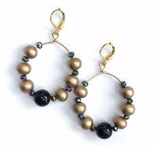 "Pierced Hoops Earrings Taupe Wood Beads Genuine Onyx Crystals Gold Tone 2.2""."