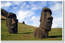 Easter Island Chile - Rapa Nui - Polynesian Moai - Travel Photo - NEW POSTER
