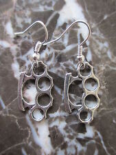 Tibetan Silver Brass Knuckles Artisan Hand-Crafted Earrings-Scene Gothic Emo