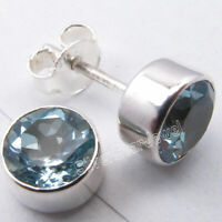 7 mm ROUND FACETED BLUE TOPAZ Studs Earrings 0.8 CM 2.3 Grams 925 Solid Silver