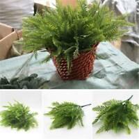 7 Heads Artificial Fake Fern Green Grass Plant Foliage Bush Home Office Decor UK