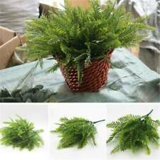 7 Heads Artificial Fake Fern Green Grass Plant Foliage Bush Home Office Decor UK