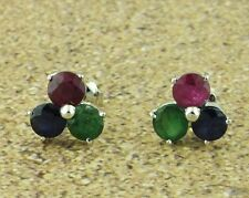 14k Solid White Gold Stud 1.50 ct Natural Ruby Sapphire  Emerald Stud  earring
