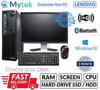 LENOVO M72e PENTIUM DESKTOP SFF PC & LCD COMPUTER SET 8GB WINDOWS 10 HDD OR SSD