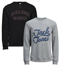 JACK & JONES New Men's Crew Neck Patch Sweatshirt Char Casual Sweat Top Jumper