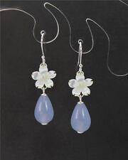 Pearl Seashell Light Blue Chalcedony Briolette 925 Silver Hook Earrings E367