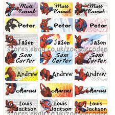 66x custom name school waterproof label spiderman boy kids stick on sticker tag