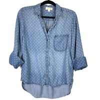 Cloth Stone Womens Top Small S Blue Chambray White Print 3/4 Sleeve Button Up
