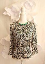 J CREW Cheetah Animal Print Silk Blouse Top Women's Sz 8/M Career Black/Ivory