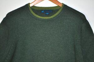 Eastern Mountain Sports Men's Large Dark Green Knit Sweater Jumper Wool Nylon