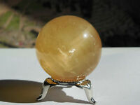 42mm POLISHED NATURAL ORANGE CALCITE CRYSTAL SPHERE CHINA -103.65g;ORGONE #4
