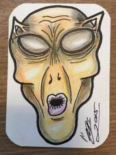 ACEO Original Mohagania Alien Series 1 Signed Art Card 1 of 3 ATC Space
