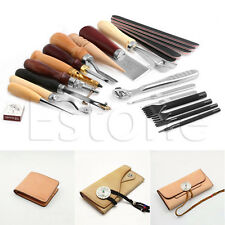 23Pcs Stitching Carving Working Sewing Saddle Groover Punch Tools Leather Craft
