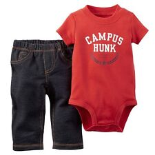 Carter's Newborn Baby Boy Outfit Campus Hunk Shirt & Pants Red Black Jeans