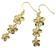 Silver 925 Yellow Gold Plated Hawaiian Plumeria Flower Earrings Wire Hook