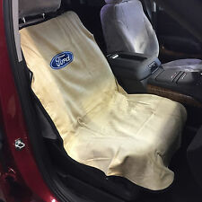 """Ford Logo Car Seat Towel Slip-On Cotton Terry Cloth Tan Seat Cover 47"""" X 24"""""""