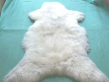 Pelle Pecora Tappeto pelle Vera pelliccia Tappetino bianco 115 - 120 x 60 x 6cm
