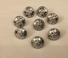8 X 15mm Firmin Silver Chrome Metal Police Service Crown Officer Uniform Buttons