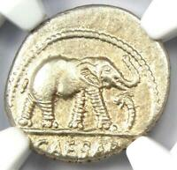 Roman Julius Caesar AR Denarius Elephant Silver Coin 48 BC - Certified NGC AU