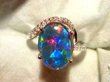 Opal Ring Ladies Sterling Silver (925) & CZ, 13 x 9mm Oval Shape Triplet. 100554