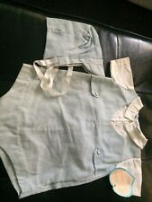 NWT Vntg ALEXIS Little Dears For Little Years Boys Blue Stripped Romper 6-9 M