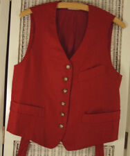 """ANN TAYLOR Pure Linen Red Waistcoat Women's Petite 36"""" Bust Vest Made in the USA"""