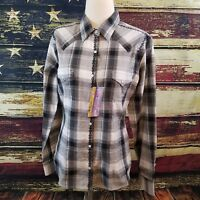 Panhandle Slim Women Black Gray Plaid Snap Up Long Sleeve Western Shirt Large