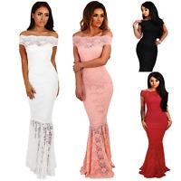 Women's Off Shoulder Bardot Lace Fishtail Maxi Bridesmaid Evening Wedding Dress