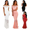 Navy red pink black white Bardot Lace Fishtail Maxi Dress party evening cocktail