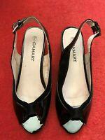 Damart leather lined patent sling back black court shoes size 6  (JFC)