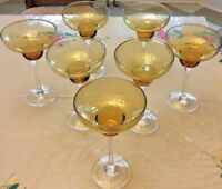 """VINTAGE LOT OF 7 AMBER MARGARITA GLASSES CLEAR STEMS 7.5"""" TALL 13 OZ TO TOP RIM"""