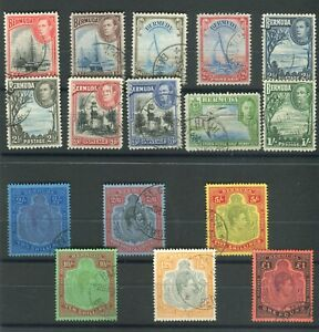 Bermuda KGVI 1938-53 set of 16 (high value keytypes all p14) fine used