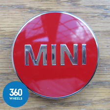 1 x NEW GENUINE ORIGINAL MINI ALLOY WHEEL CENTRE CAPS HUB BADGES RED F56
