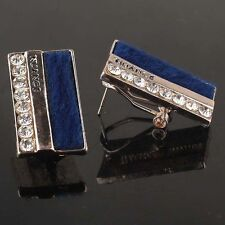 9K Gold Filled Blue White Clear Crystal Rhinestone Earrings Fuzz Fuzzy Nuance