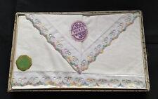 Vintage Pair IRISH Cream Linen embroidered edge Pillowcases UNUSED Original Box