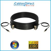 SVGA + Audio 3.5mm Male Monitor Cable Vga Cord 15 Pin 3ft 6ft 10ft 25ft 50ft lot