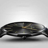 Men Trendy Ultra Thin Minimalist Watch Slim Leather Strap Stainless Steel Quartz