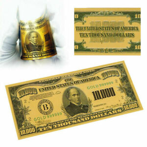 Gold Foil $10000 Dollar Bill Collectible Money Paper Banknotes Note Acces