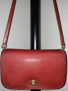 Auth💥EVC💥Coach 9755 Turnlock Flap Penny Pocket Bonnie Cashin Red GC Crossbody