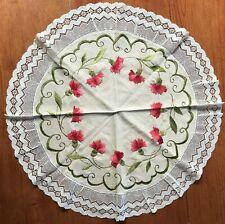 Antique~Society Silk Work Hand Embroidered ~ Rd Table Scarf~Red Carnations - 26""