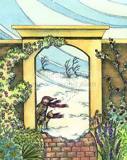 8x10 signed PRINT - Winter garden - fantasy art illustration children dogs pets