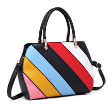 Women Designer Patchwork Handbag PU leather Shoulder Tote Bag Rainbow