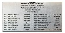 F1 Racing 1994 Results plate of Michael Schumacher B194 Metal plate display card