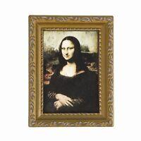 """Vintage golden gerahmtes Bild von Mona Lisa 1/12 Puppenhaus 3.2 """"x 2.4"""" B9B5"""