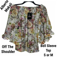New Alberto Makali Womens S M Top Blouse Floral Off the Shoulder Ruffles Sheer