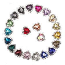 20 pcs Costume Dress Heart Color Glass Applique Sewing On Button 12/14/18mm pick